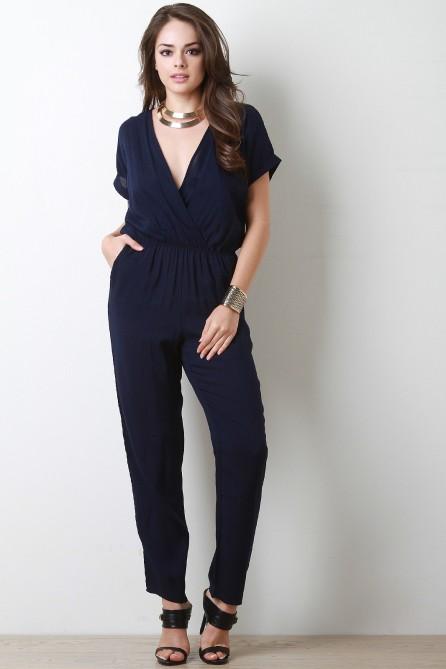 Short Sleeve Jumpsuit in Blue