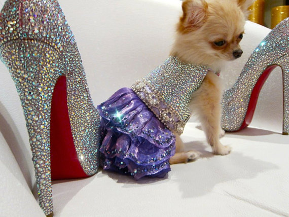 Dog Dress Couture Sparkling Mystic with Swarovski Crystals: $6,000