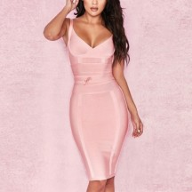 Strappy bandage dress in pink